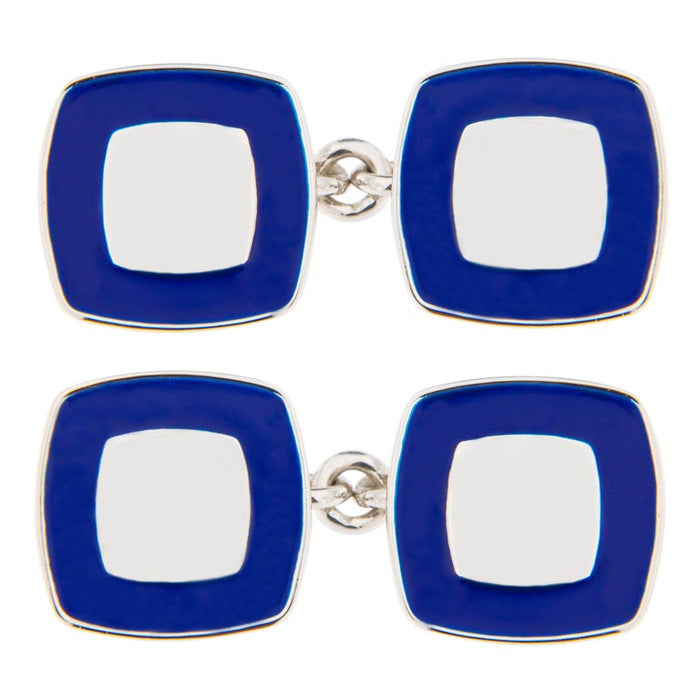 Blue Enamel Sterling Silver Cufflinks