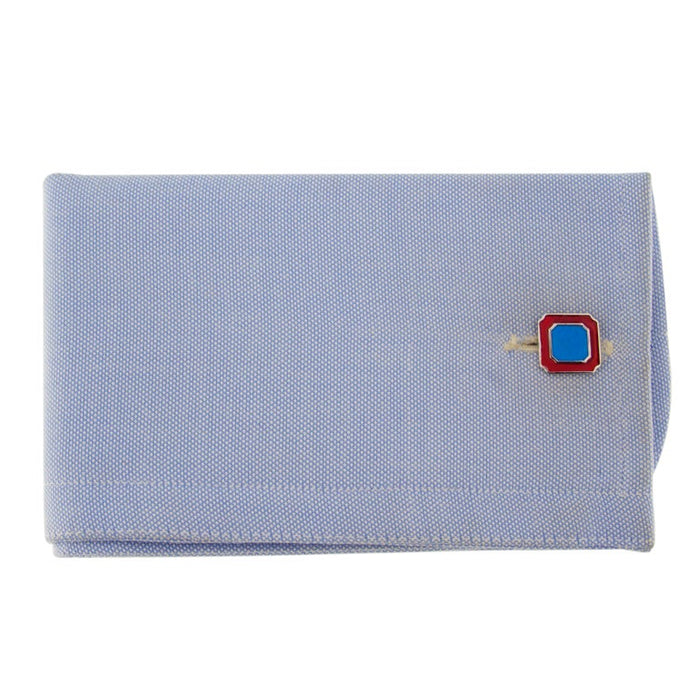 Blue and Red Enamel Sterling Silver Cufflinks