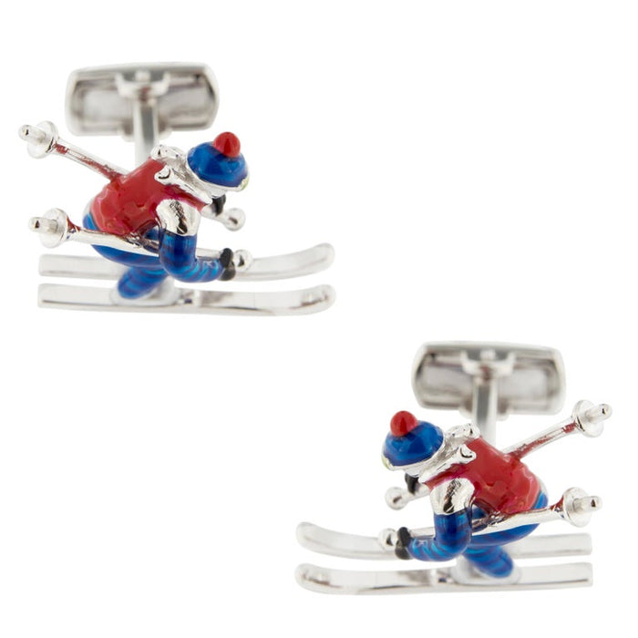 Jona Sterling Silver Enamel Skier Cufflinks In New Condition For Sale In Torino IT