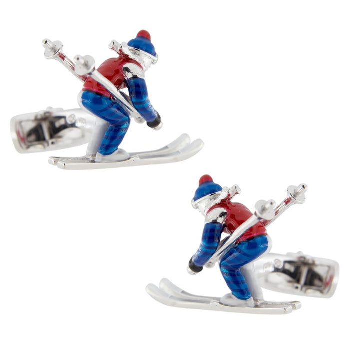 Jona Sterling Silver Enamel Skier Cufflinks For Sale 4