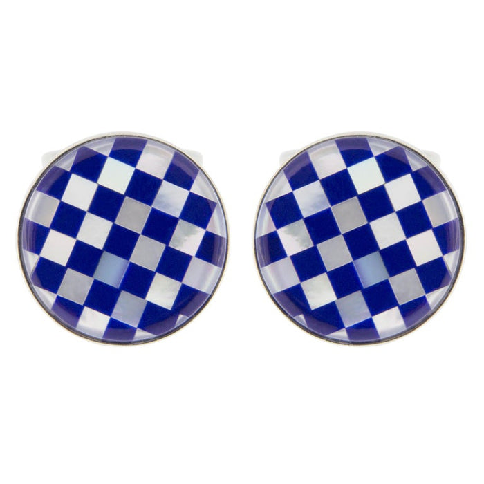 Jona Lapis Lazuli Mother of Pearl Sterling Silver Cufflinks In New Condition For Sale In Torino IT