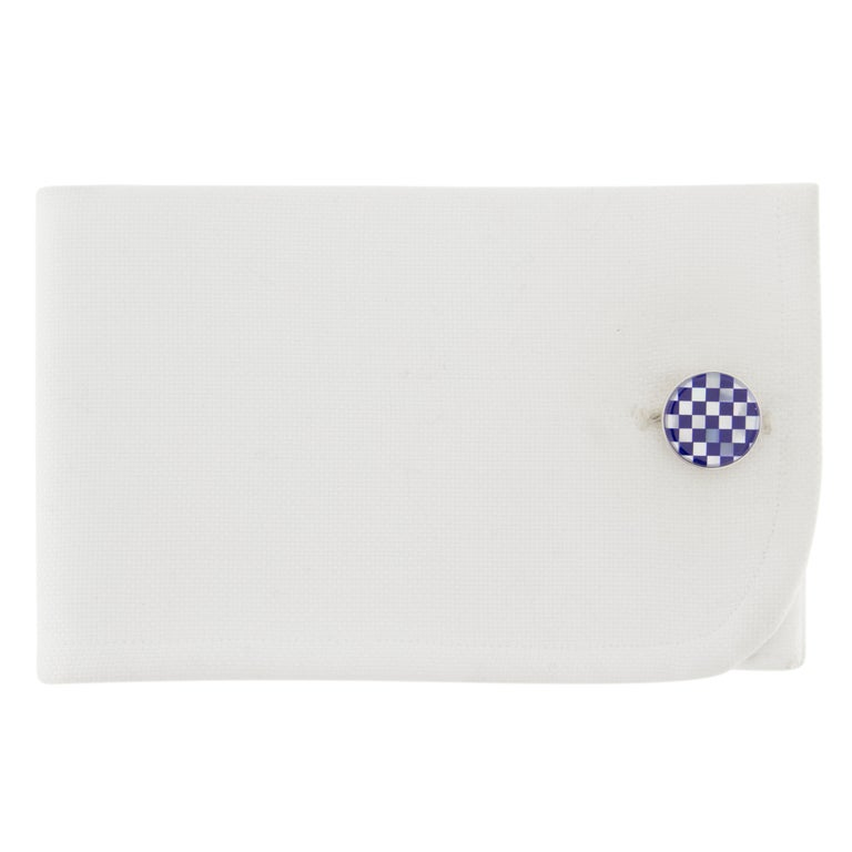 Jona design collection hand crafted in Italy rhodium plated sterling silver Lapis Lazuli and Mother of Pearl cufflinks. Marked Jona 925. Dimensions: Diameter 0.58 in / 14.90 mm X Depth 0.12 in / 3.20 mm All Jona jewelry is new and has never been