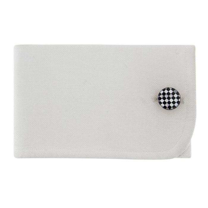 Onyx Mother of Pearl Sterling Silver Cufflinks