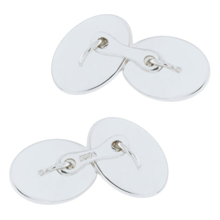 Jona Oval Sterling Silver Cufflinks For Sale 1