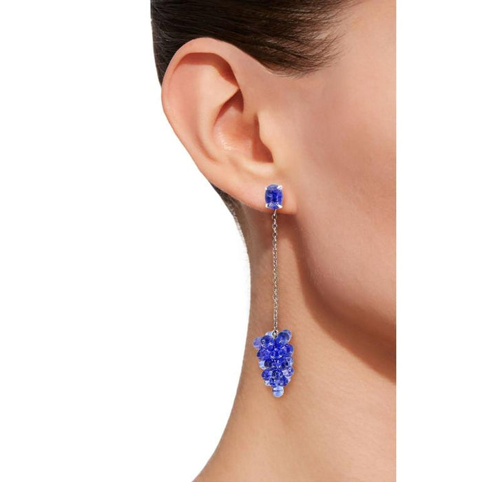 Tanzanite Cluster 18 Karat White Gold Pendant Earrings