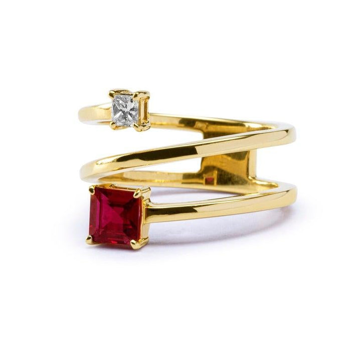 Ruby White Diamond 18 Karat Yellow Gold Crossover Ring Band