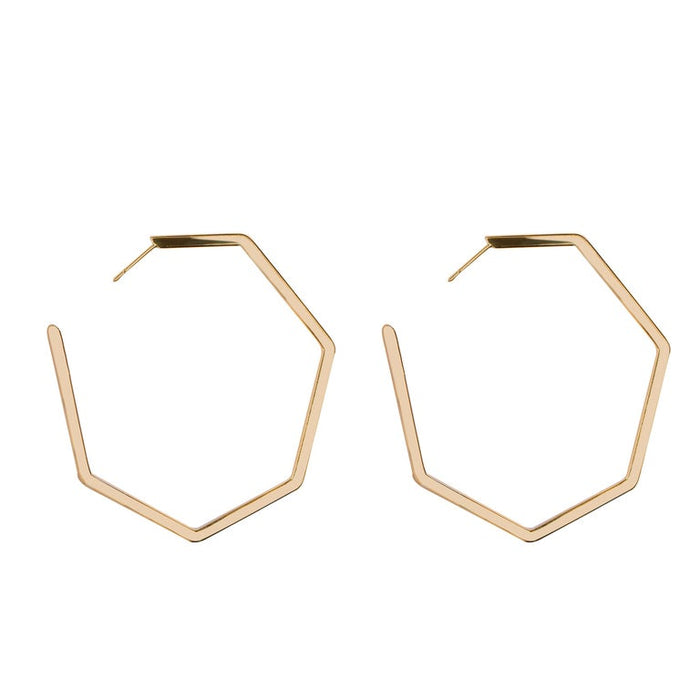 Jona 18 Karat Yellow Gold Geometric Hexagonal Hoop Earrings In New Condition For Sale In Torino IT