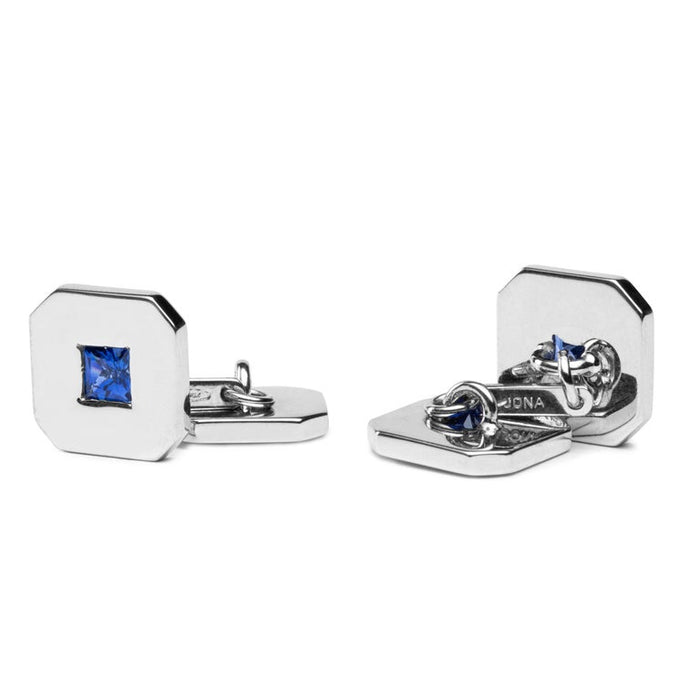 Jona 18 Karat White Gold Blue Sapphire Cufflinks In New Condition For Sale In Torino IT