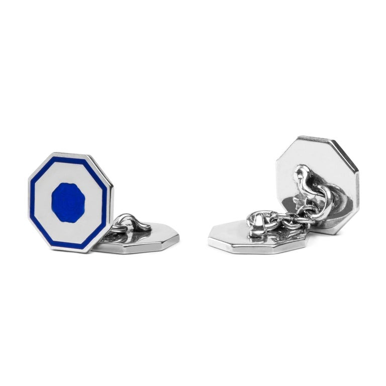 Jona Blue Enamel Sterling Silver Octagonal Cufflinks In New Condition For Sale In Torino IT