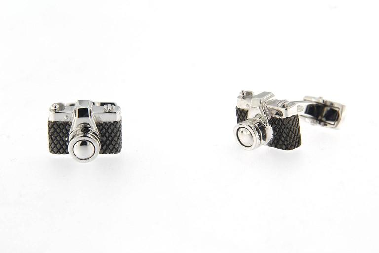 Jona Solid Sterling Silver Camera Cufflinks In New Condition For Sale In Torino IT