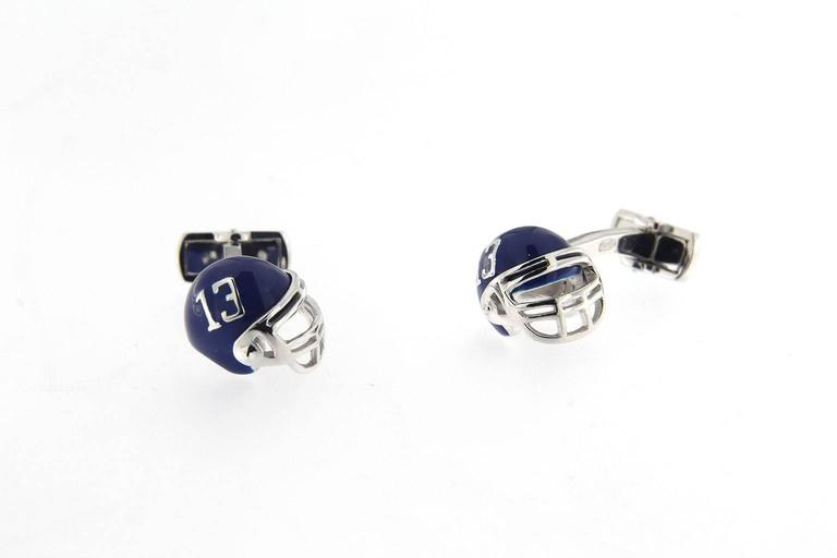 Jona Sterling Silver American Football Helmet Cufflinks In New Condition For Sale In Torino IT