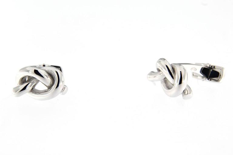Jona Sterling Silver Knot Cufflinks In New Condition For Sale In Torino IT