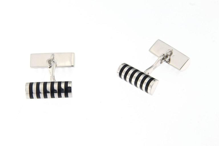 Jona Black Enamel Sterling Silver Cufflinks In New Condition For Sale In Torino IT