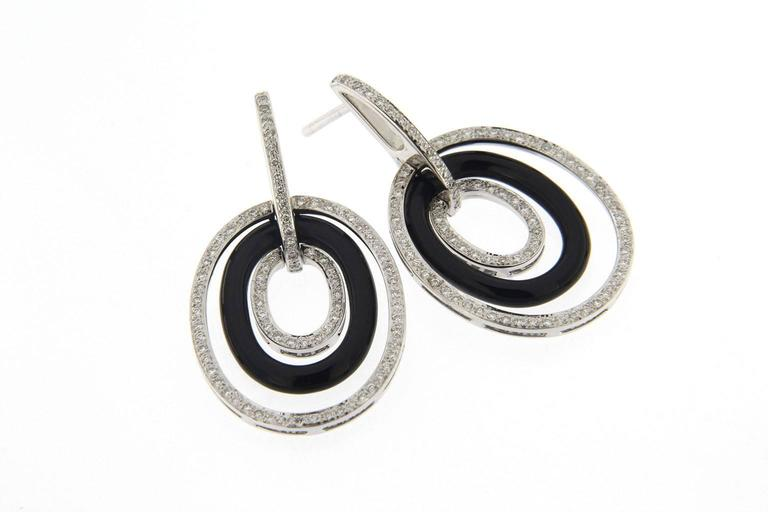 Onyx White Diamond 18 Karat White Gold Pendant Earrings In New Condition For Sale In Torino IT