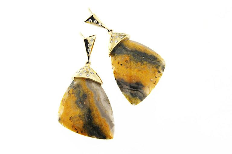 Jona Bumblebee Jasper White Diamond 18 Karat Yellow Gold Dangling Earrings In New Condition For Sale In Torino IT
