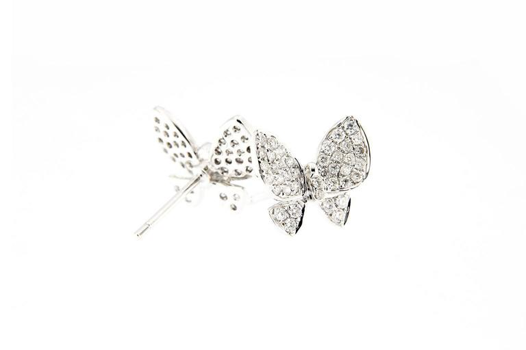 Jona Diamond White Gold Butterfly Earrings In New Condition For Sale In Torino IT
