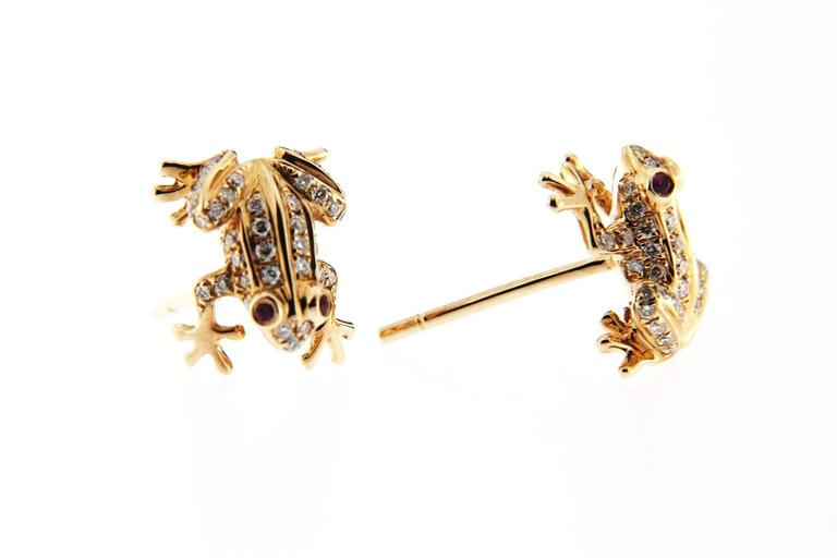 Jona Ruby White Diamond 18 Karat Rose Gold Frog Earrings In New Condition For Sale In Torino IT