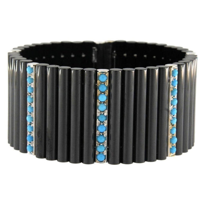 Ceramic Turquoise White Gold Cuff Flexible Bangle Bracelet
