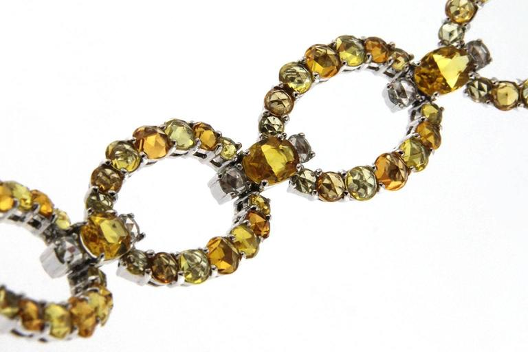 Jona Yellow and Orange Sapphire White Diamond 18 Karat White Gold Link Bracelet In New Condition For Sale In Torino IT