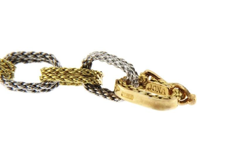 Jona White and Yellow 18 Karat Gold Woven Chain Link Bracelet In New Condition For Sale In Torino IT