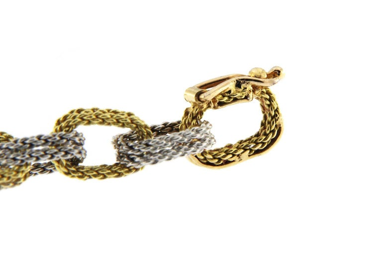 Women's Jona White and Yellow 18 Karat Gold Woven Chain Link Bracelet For Sale