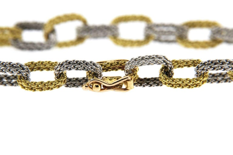 Jona White and Yellow 18 Karat Gold Woven Chain Link Bracelet For Sale 1