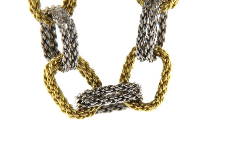 Jona White and Yellow 18 Karat Gold Woven Chain Link Bracelet For Sale 2