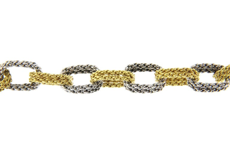 Jona White and Yellow 18 Karat Gold Woven Chain Link Bracelet For Sale 3