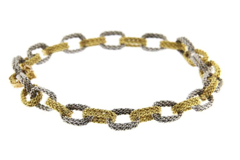 Jona White and Yellow 18 Karat Gold Woven Chain Link Bracelet For Sale 4