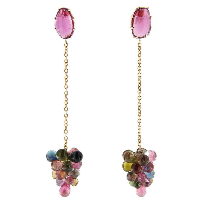 Multi-Color Tourmaline 18 Karat Yellow Gold Dangling Pendant Earrings