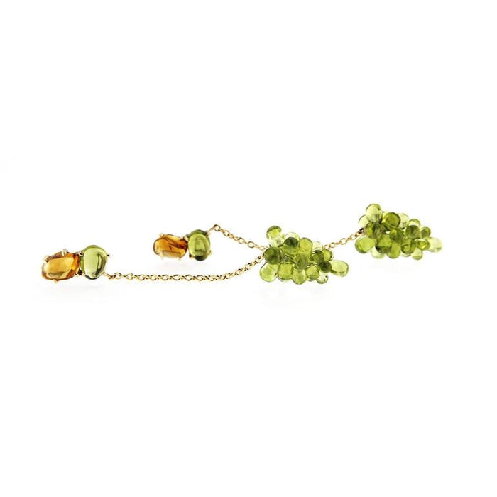 Jona Peridot Cluster Citrine 18 Karat Yellow Gold Pendant Earrings In New Condition For Sale In Torino IT