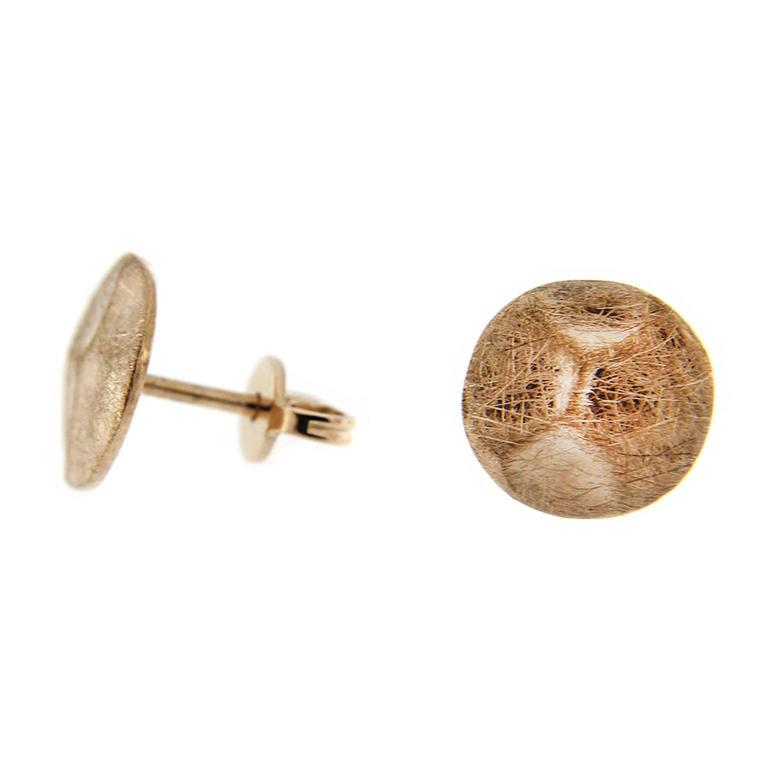 Jona Brushed 18 Karat Rose Gold Stud Earrings For Sale 1