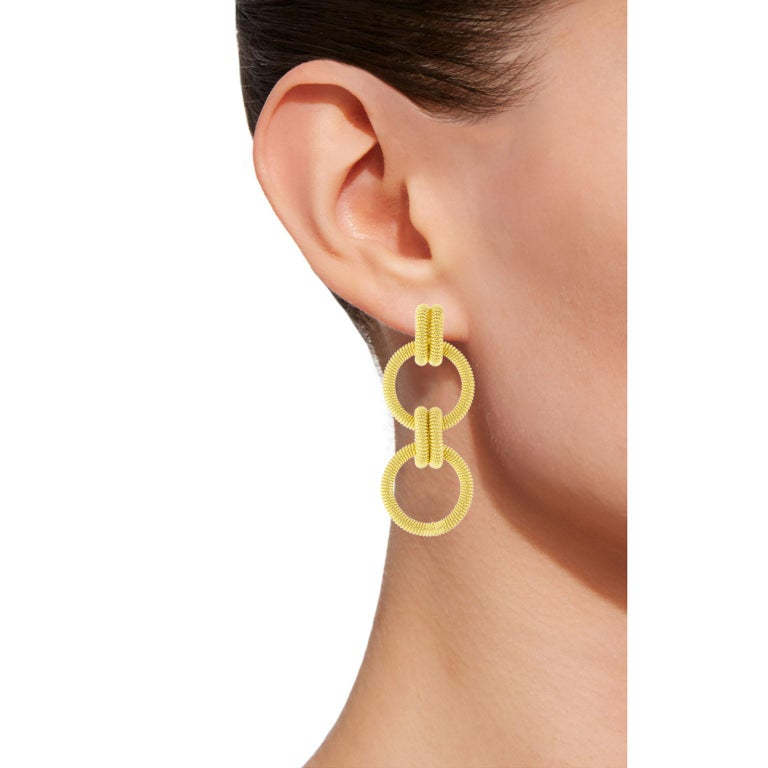 Jona design collection hand crafted in Italy gold-plated sterling silver twisted wire ear pendants. Dimensions: H 1.9 in / 5 cm X W 0.81 in / 2 cm X D 0.12 in / 3 mm Weight: 13.1 g All Jona jewelry is new and has never been previously owned or