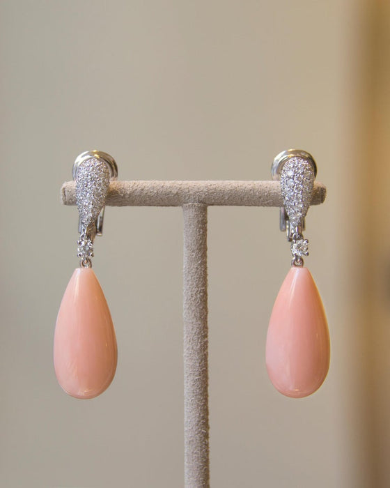 Peau d'Ange Mediterranean Coral White Diamond 18 Karat Gold Drop Earrings