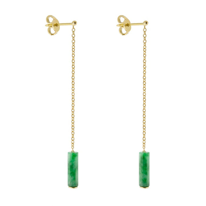 Burmese Jadeite Jade 18 Karat Yellow Gold Pendant Earrings