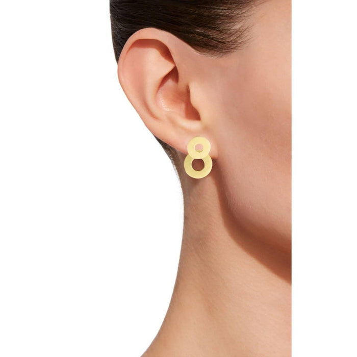Jona design collection hand crafted in Italy 18 karat yellow gold clip-on pendant earrings consisting of two partially overlapping pierced disks. All Jona jewelry is new and has never been previously owned or worn. Each item will arrive at your