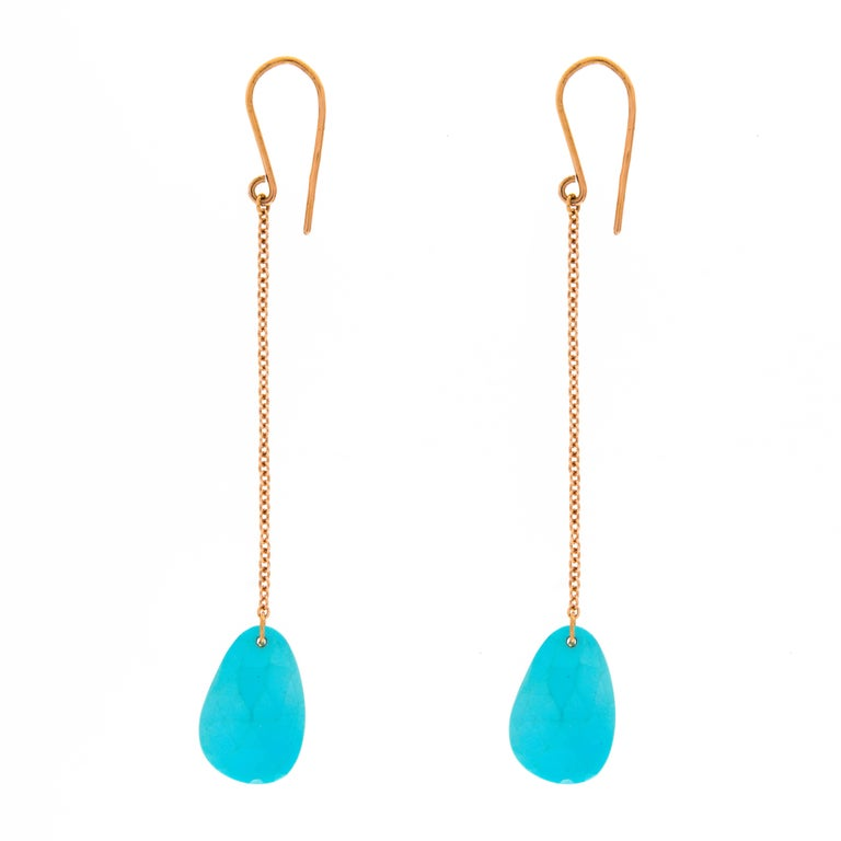 Jona Turquoise 18 Karat Rose Gold Pendant Earrings In New Condition For Sale In Torino IT