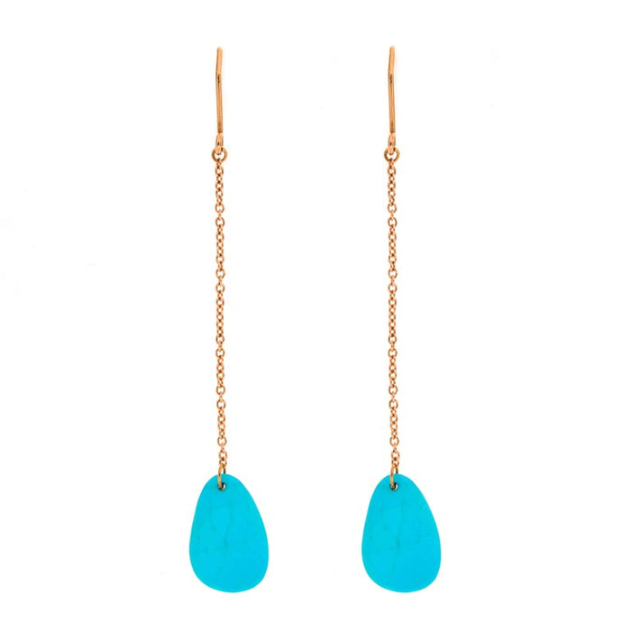 Turquoise 18 Karat Rose Gold Pendant Earrings