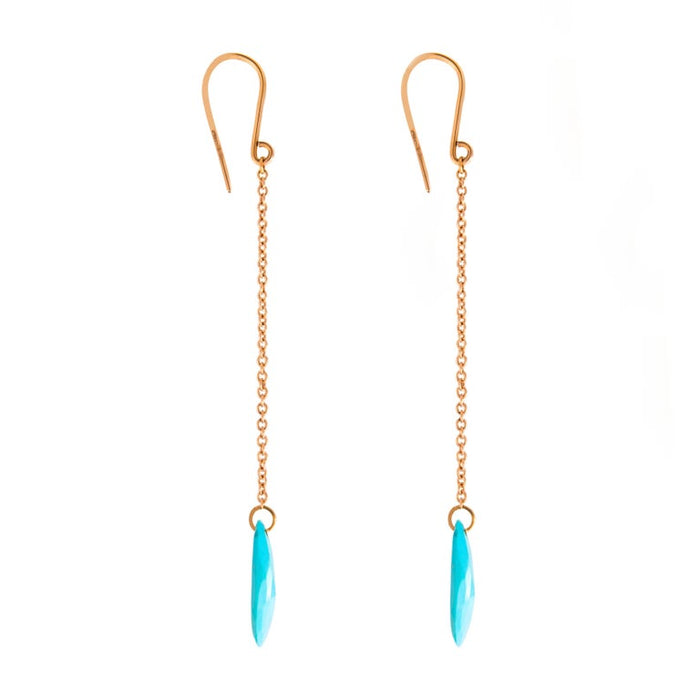 Women's or Men's Jona Turquoise 18 Karat Rose Gold Pendant Earrings For Sale
