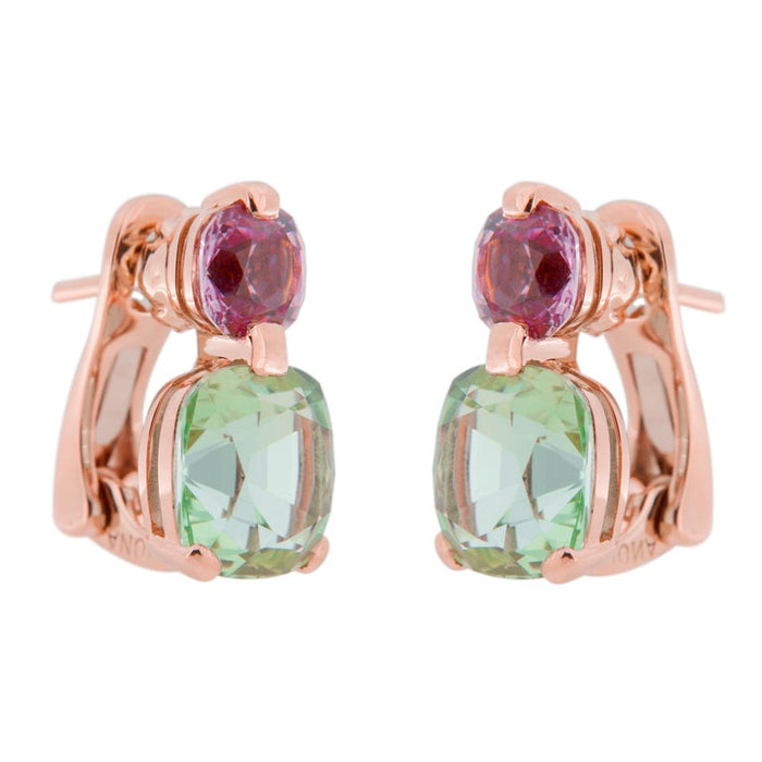 Jona Mint Tourmaline and Malaya Garnet 18 Karat Rose Gold Drop Clip on Earrings In New Condition For Sale In Torino IT