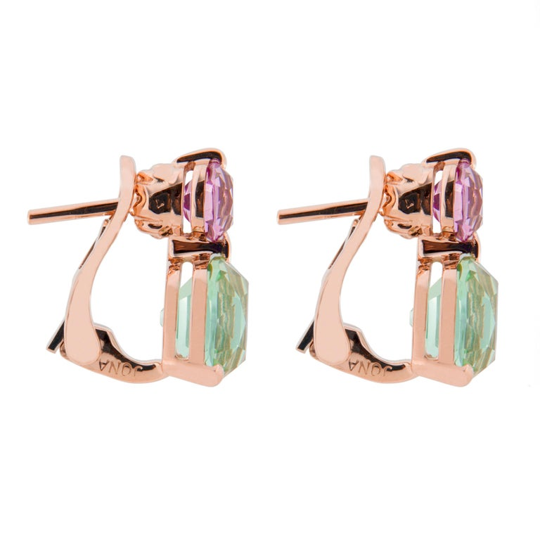 Women's or Men's Jona Mint Tourmaline and Malaya Garnet 18 Karat Rose Gold Drop Clip on Earrings For Sale