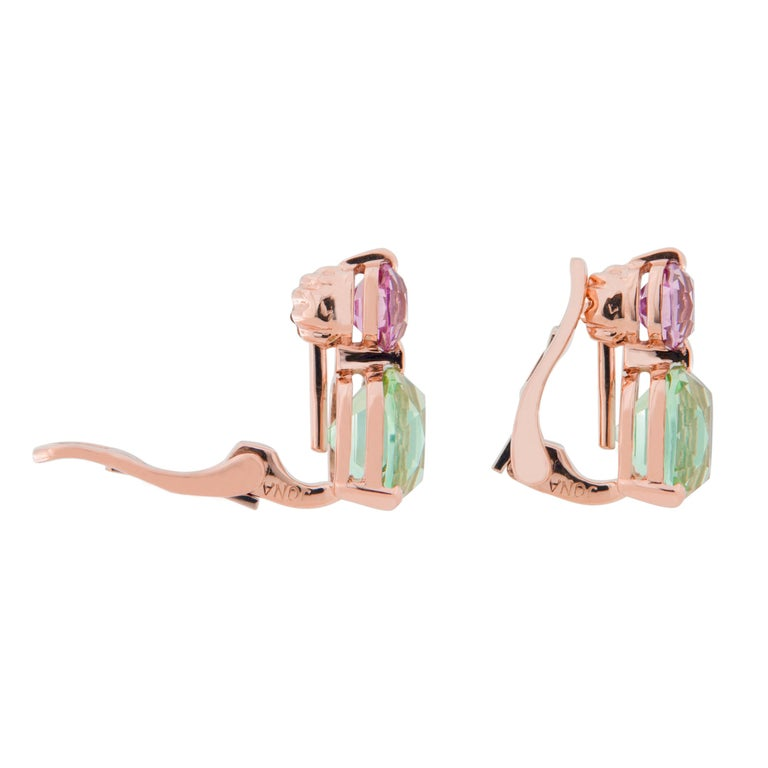 Jona Mint Tourmaline and Malaya Garnet 18 Karat Rose Gold Drop Clip on Earrings For Sale 1