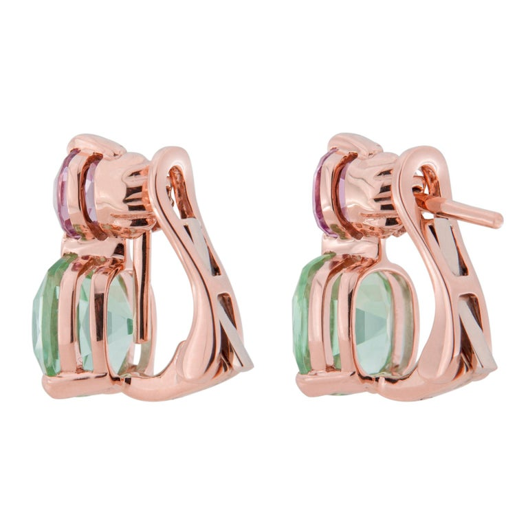 Jona Mint Tourmaline and Malaya Garnet 18 Karat Rose Gold Drop Clip on Earrings For Sale 3