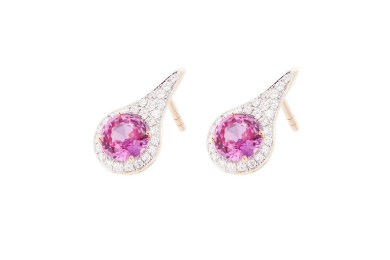 Jona Pink Sapphire White Diamond 18 Karat Yellow Gold Halo Stud Earrings In New Condition For Sale In Torino IT