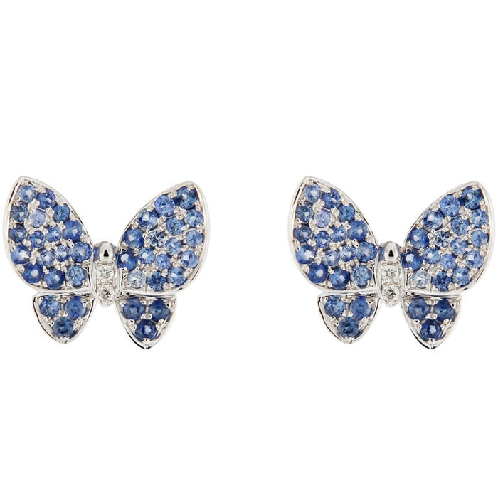Blue Sapphire White Diamond 18 Karat White Gold Butterfly Stud Earrings