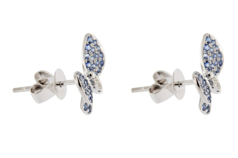 Jona Blue Sapphire White Diamond 18 Karat White Gold Butterfly Stud Earrings In New Condition For Sale In Torino IT