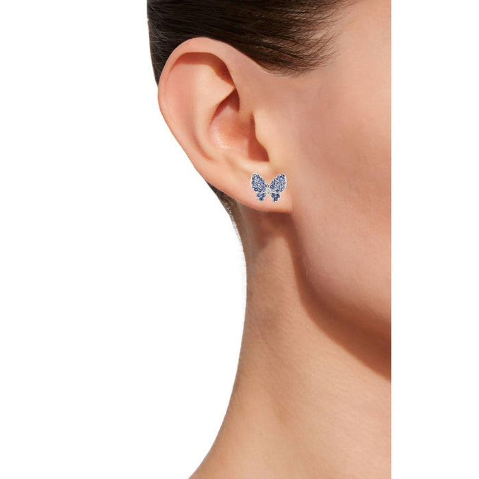 Jona design collection hand crafted in Italy 18 karat white gold stud butterfly earrings featuring 2 white diamonds weighing totally 0.02 carats and 76 blue sapphires pavé weighing 0.73 carats.  DIMENSIONS: 0.47 in H x 0.511 in W x 0.11 in D 12 mm