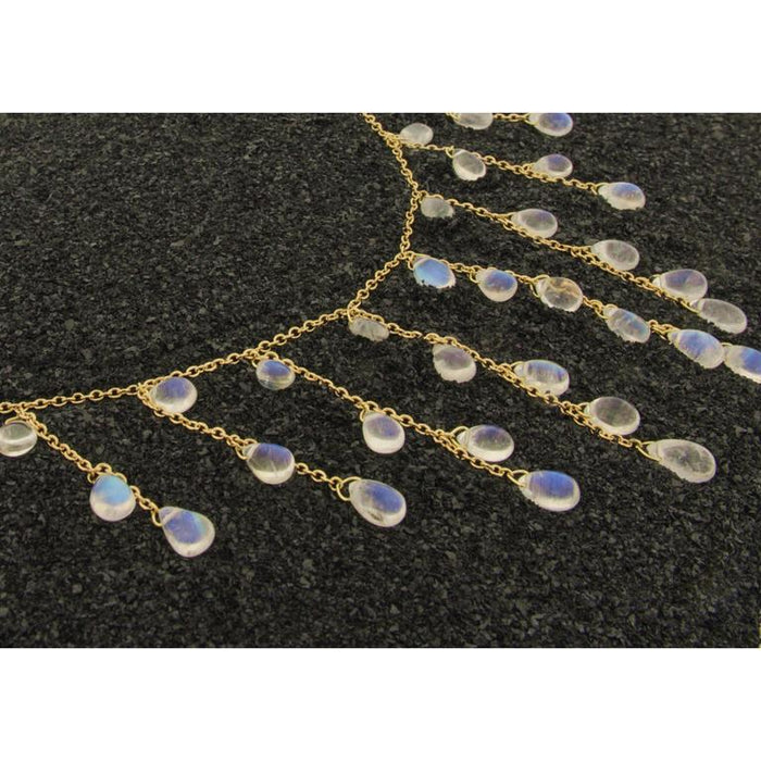 Women's Jona Burmese Moonstone 18 Karat Yellow Gold Necklace For Sale