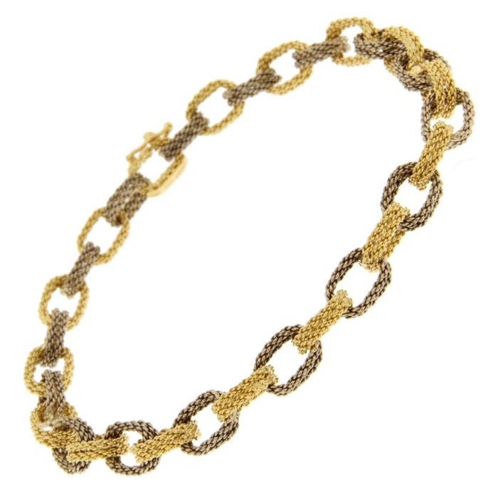 White and Yellow 18 Karat Gold Woven Chain Link Bracelet