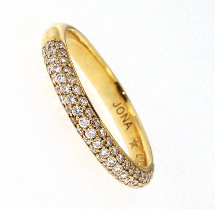 White Diamond 18 Karat Yellow Gold Band Ring